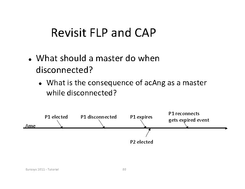 Revisit FLP and CAP What should a master do when disconnected? What is the