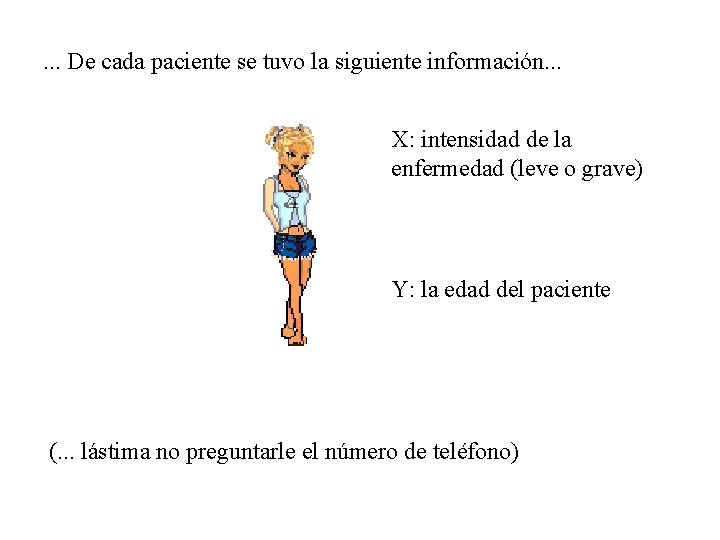 . . . De cada paciente se tuvo la siguiente información. . . X: