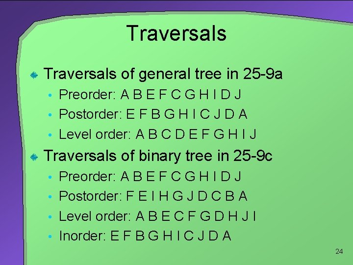 Traversals of general tree in 25 -9 a • Preorder: A B E F