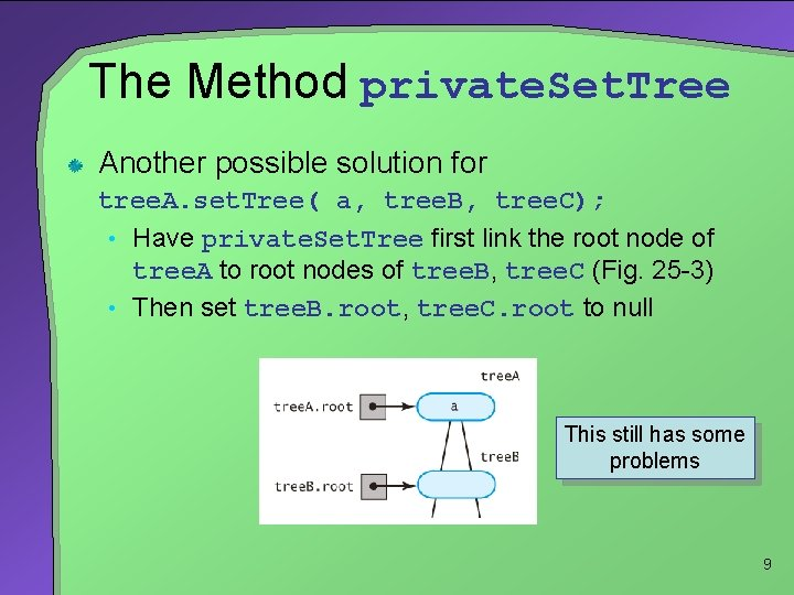 The Method private. Set. Tree Another possible solution for tree. A. set. Tree( a,