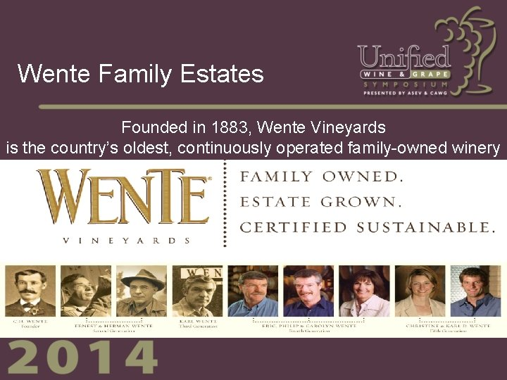 Wente Family Estates Founded in 1883, Wente Vineyards is the country's oldest, continuously operated