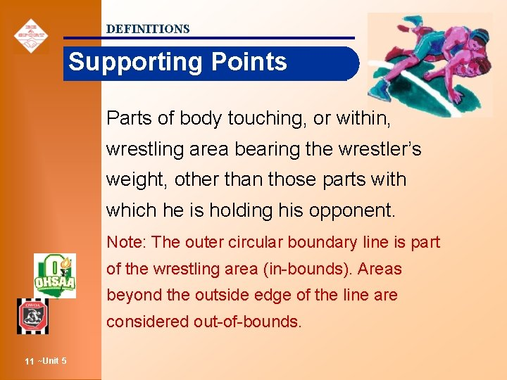 DEFINITIONS Supporting Points Parts of body touching, or within, wrestling area bearing the wrestler's