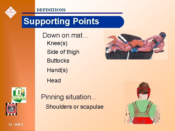 DEFINITIONS Supporting Points Down on mat… Knee(s) Side of thigh Buttocks Hand(s) Head Pinning
