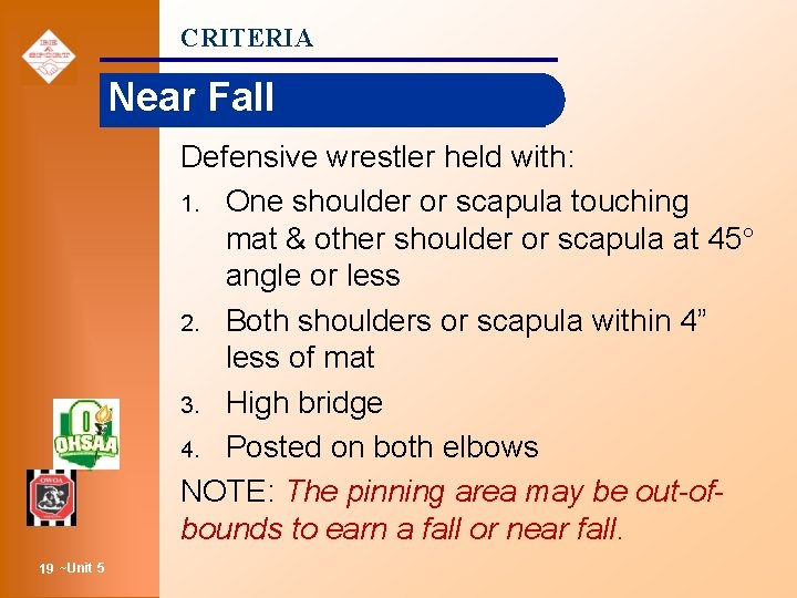 CRITERIA Near Fall Defensive wrestler held with: 1. One shoulder or scapula touching mat