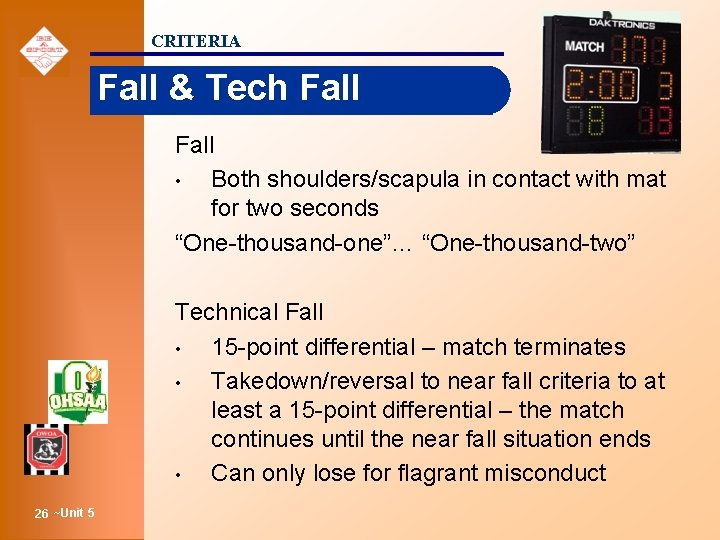 CRITERIA Fall & Tech Fall • Both shoulders/scapula in contact with mat for two