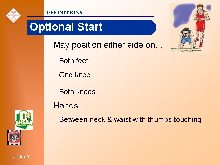 DEFINITIONS Optional Start May position either side on… Both feet One knee Both knees