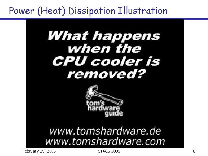 Power (Heat) Dissipation Illustration February 25, 2005 STACS 2005 8