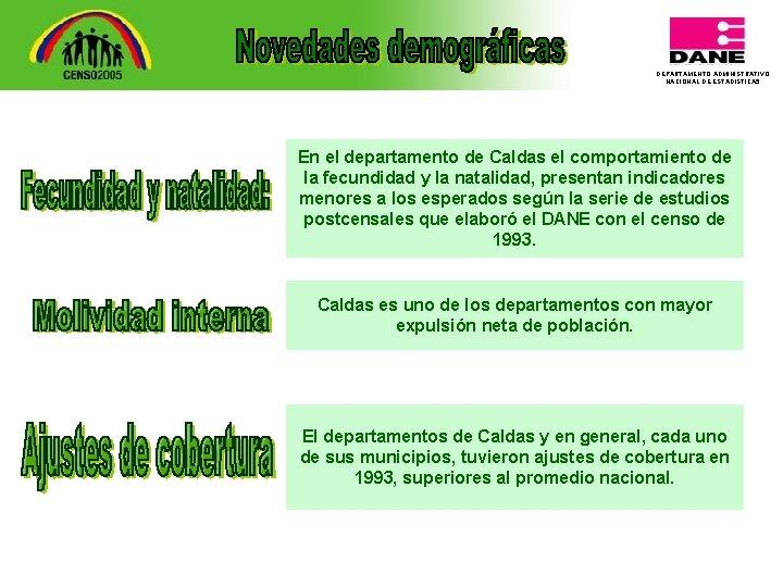 DEPARTAMENTO ADMINISTRATIVO NACIONAL DE ESTADISTICA 5 En el departamento de Caldas el comportamiento de