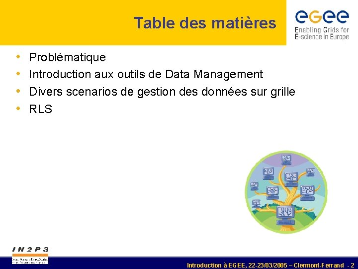 Table des matières • • Problématique Introduction aux outils de Data Management Divers scenarios