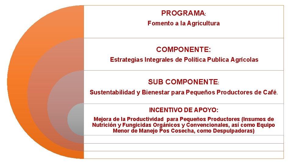 PROGRAMA: Fomento a la Agricultura COMPONENTE: Estrategias Integrales de Política Publica Agrícolas SUB COMPONENTE: