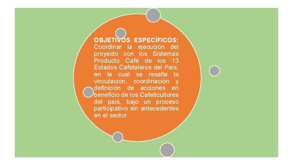 OBJETIVOS ESPECÍFICOS: Coordinar la ejecución del proyecto con los Sistemas Producto Café de los