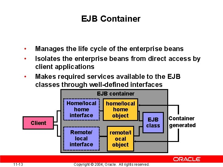 EJB Container • • • Manages the life cycle of the enterprise beans Isolates