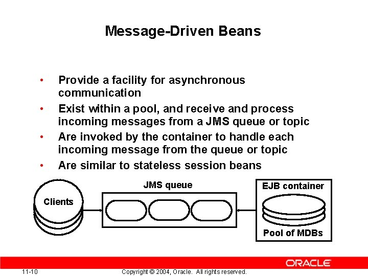 Message-Driven Beans • • Provide a facility for asynchronous communication Exist within a pool,