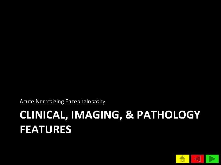 Acute Necrotizing Encephalopathy CLINICAL, IMAGING, & PATHOLOGY FEATURES
