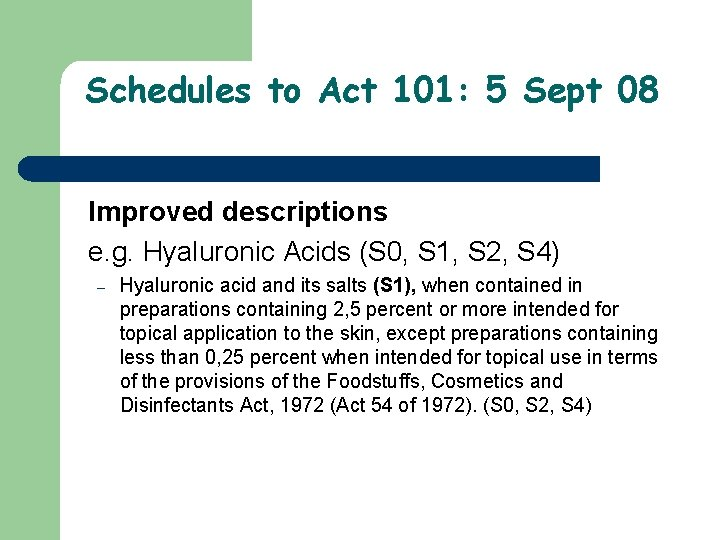 Schedules to Act 101: 5 Sept 08 Improved descriptions e. g. Hyaluronic Acids (S