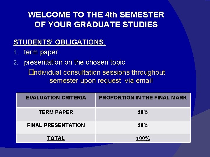 WELCOME TO THE 4 th SEMESTER OF YOUR GRADUATE STUDIES STUDENTS' OBLIGATIONS: 1. term