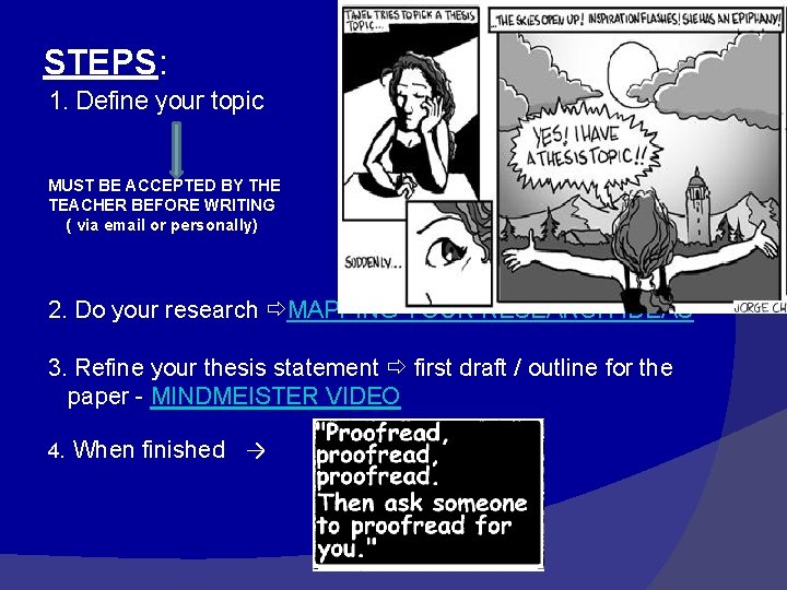 STEPS: 1. Define your topic MUST BE ACCEPTED BY THE TEACHER BEFORE WRITING (