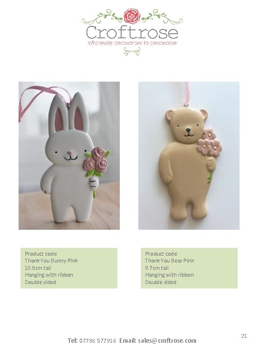 Product code Thank You Bunny Pink 10. 8 cm tall Hanging with ribbon Double