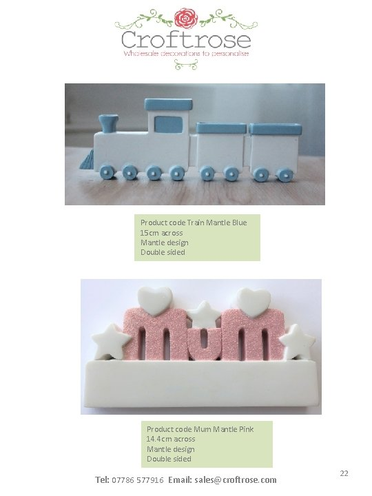 Product code Train Mantle Blue 15 cm across Mantle design Double sided Product code