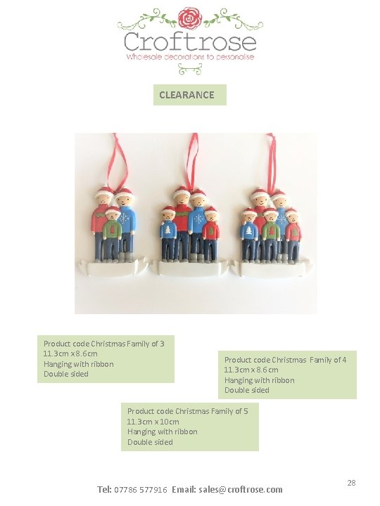 CLEARANCE Product code Christmas Family of 3 11. 3 cm x 8. 6 cm