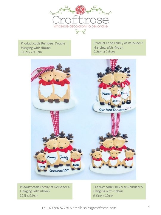 Product code Reindeer Couple Hanging with ribbon 8. 6 cm x 9. 5 cm