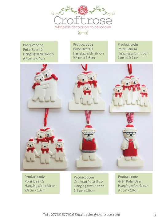 Product code Polar Bears 2 Hanging with ribbon 9. 4 cm x 7. 7