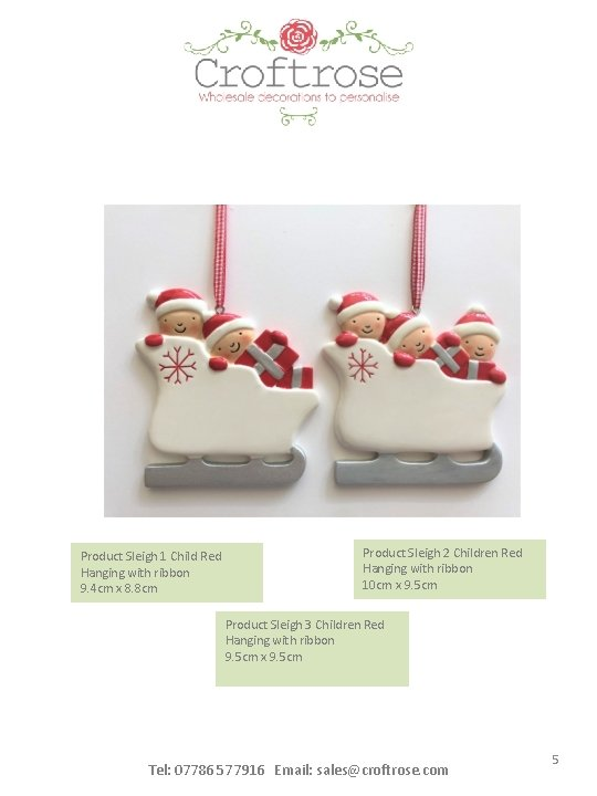 Product Sleigh 1 Child Red Hanging with ribbon 9. 4 cm x 8. 8
