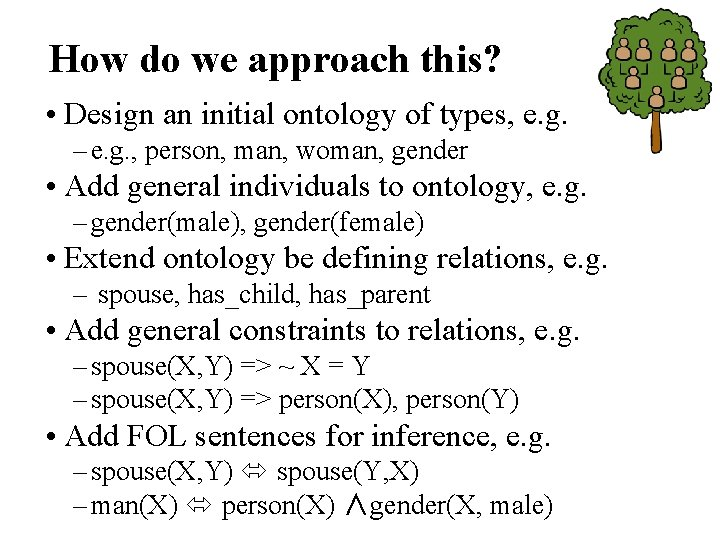 How do we approach this? • Design an initial ontology of types, e. g.