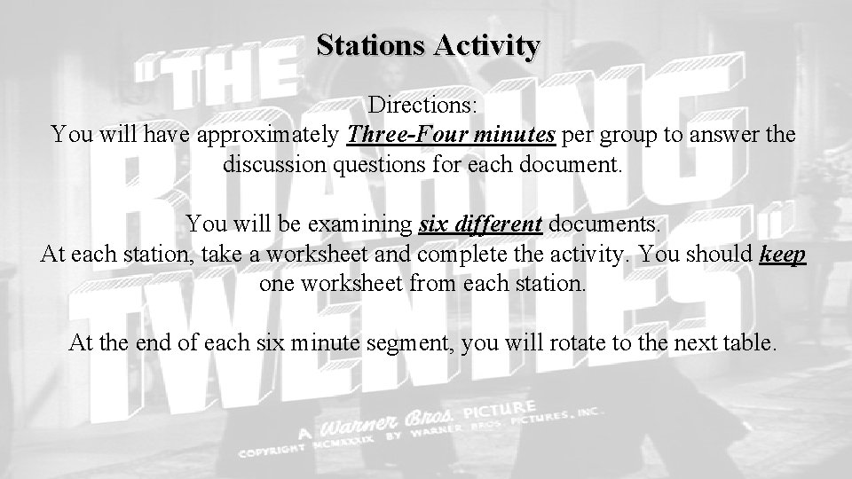 Stations Activity Directions: You will have approximately Three-Four minutes per group to answer the