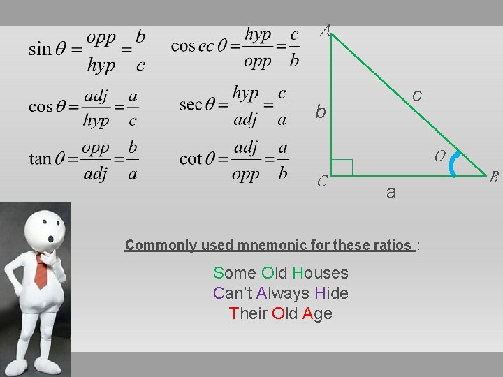 A c b Ѳ C a Commonly used mnemonic for these ratios : Some