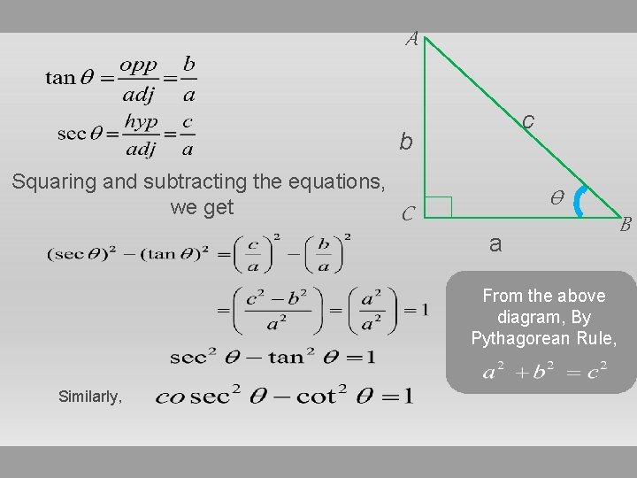 A c b Squaring and subtracting the equations, we get Ѳ C a From