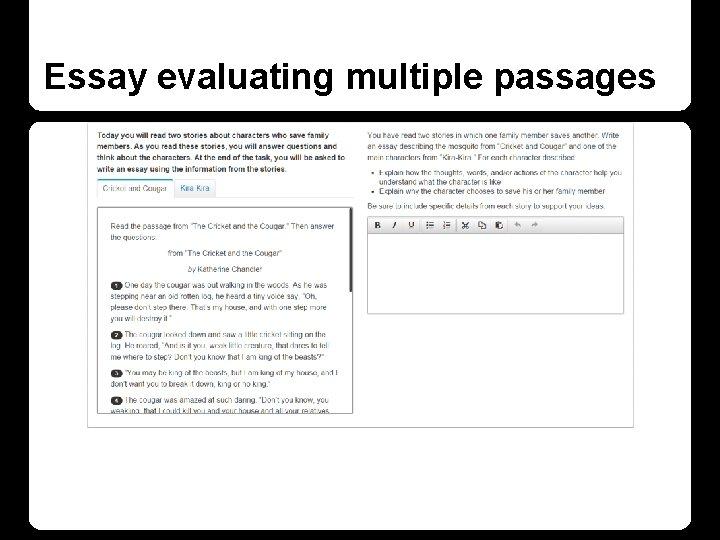 Essay evaluating multiple passages