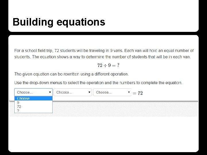 Building equations