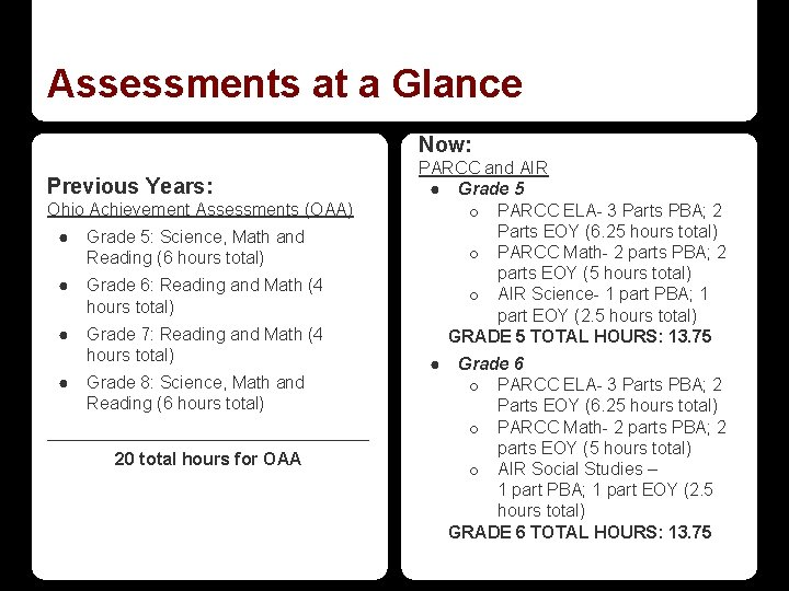 Assessments at a Glance Now: Previous Years: Ohio Achievement Assessments (OAA) ● Grade 5:
