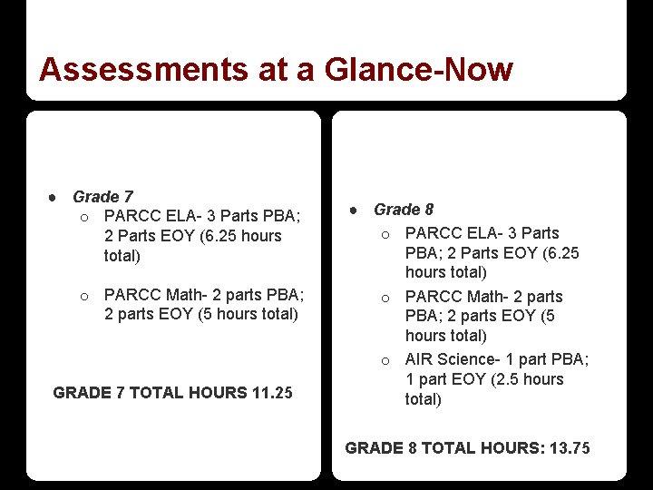 Assessments at a Glance-Now ● Grade 7 o PARCC ELA- 3 Parts PBA; 2