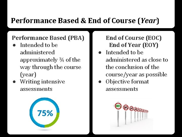 Performance Based & End of Course (Year) Performance Based (PBA) ● Intended to be