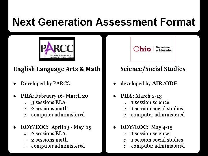 Next Generation Assessment Format English Language Arts & Math Science/Social Studies ● Developed by