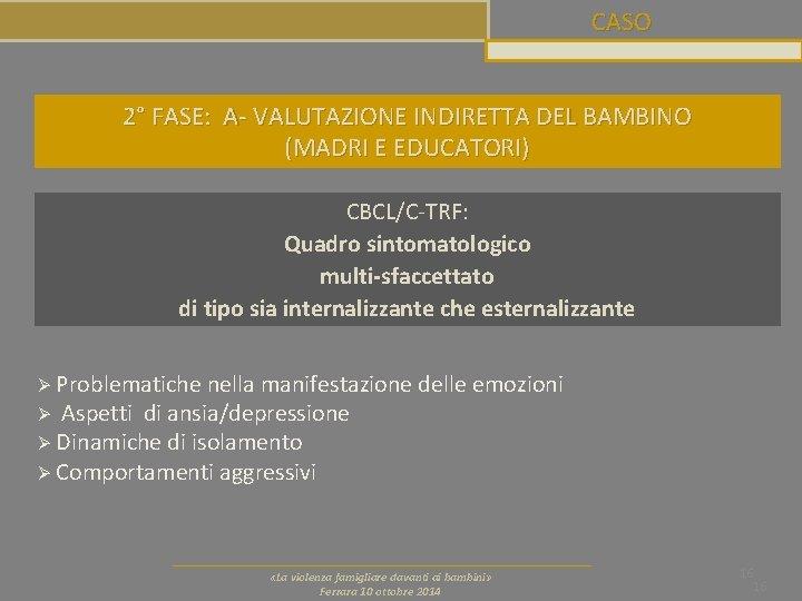 CASO 2° FASE: A- VALUTAZIONE INDIRETTA DEL BAMBINO (MADRI E EDUCATORI) CBCL/C-TRF: Quadro sintomatologico