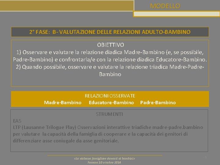 MODELLO 2° FASE: B- VALUTAZIONE DELLE RELAZIONI ADULTO-BAMBINO OBIETTIVO 1) Osservare e valutare la