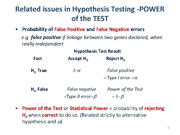 Related issues in Hypothesis Testing -POWER of the TEST • Probability of False Positive