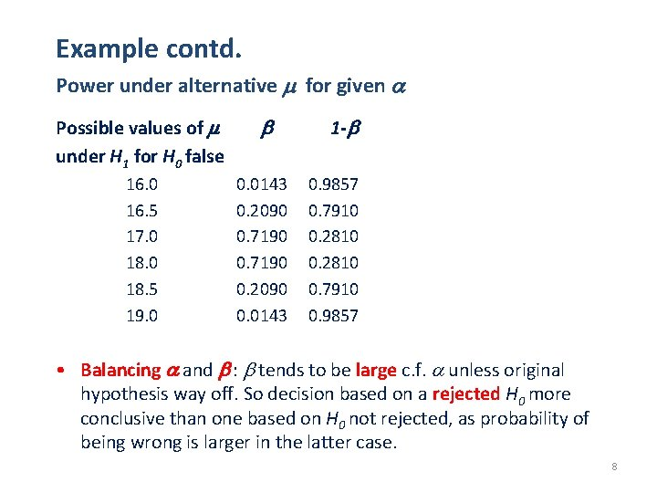 Example contd. Power under alternative for given Possible values of under H 1 for