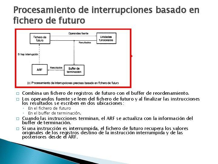 Procesamiento de interrupciones basado en fichero de futuro � � Combina un fichero de
