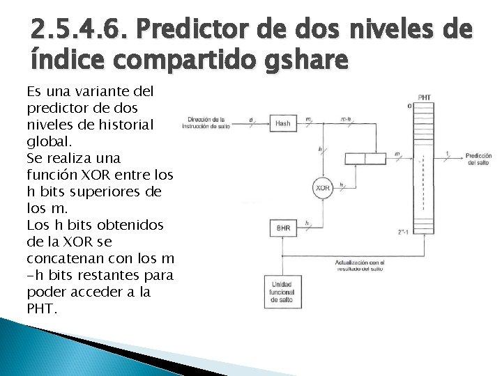 2. 5. 4. 6. Predictor de dos niveles de índice compartido gshare Es una