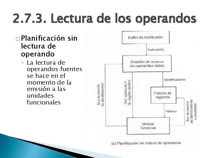 2. 7. 3. Lectura de los operandos � Planificación lectura de operando sin ◦