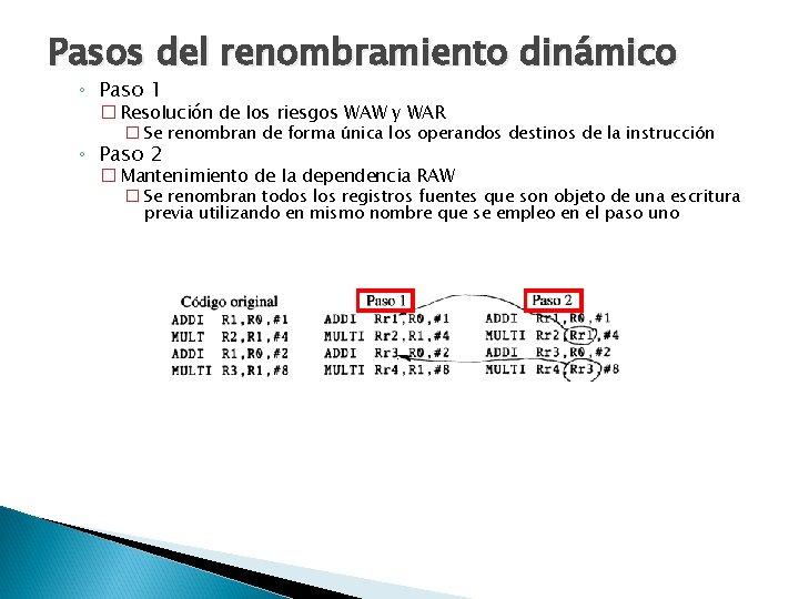 Pasos del renombramiento dinámico ◦ Paso 1 � Resolución de los riesgos WAW y
