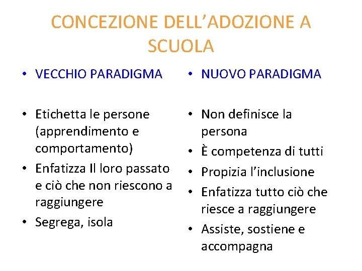 CONCEZIONE DELL'ADOZIONE A SCUOLA • VECCHIO PARADIGMA • NUOVO PARADIGMA • Etichetta le persone