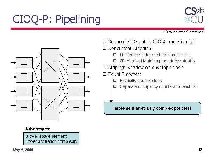CIOQ-P: Pipelining Thesis: Santosh Krishnan q Sequential Dispatch: CIOQ emulation (f 5) q Concurrent