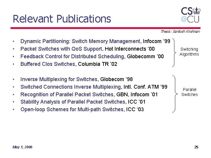 Relevant Publications Thesis: Santosh Krishnan • • Dynamic Partitioning: Switch Memory Management, Infocom '