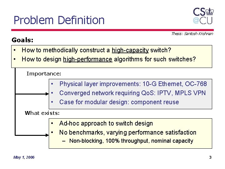 Problem Definition Thesis: Santosh Krishnan Goals: • How to methodically construct a high-capacity switch?