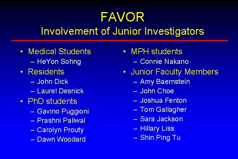 FAVOR Involvement of Junior Investigators • Medical Students – He. Yon Sohng • Residents